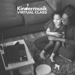 A mother and child enjoy virtual music classes with My Little Conservatory.